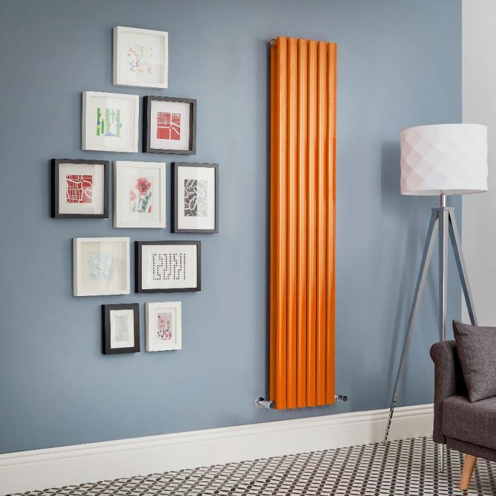 Milano Aruba - Orange Vertical Double Panel Designer Radiator - Various Sizes