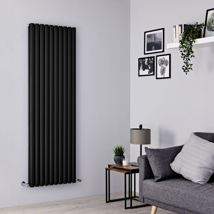 Milano Aruba - Black Vertical Designer Radiator 1780mm x 590mm (Double Panel)