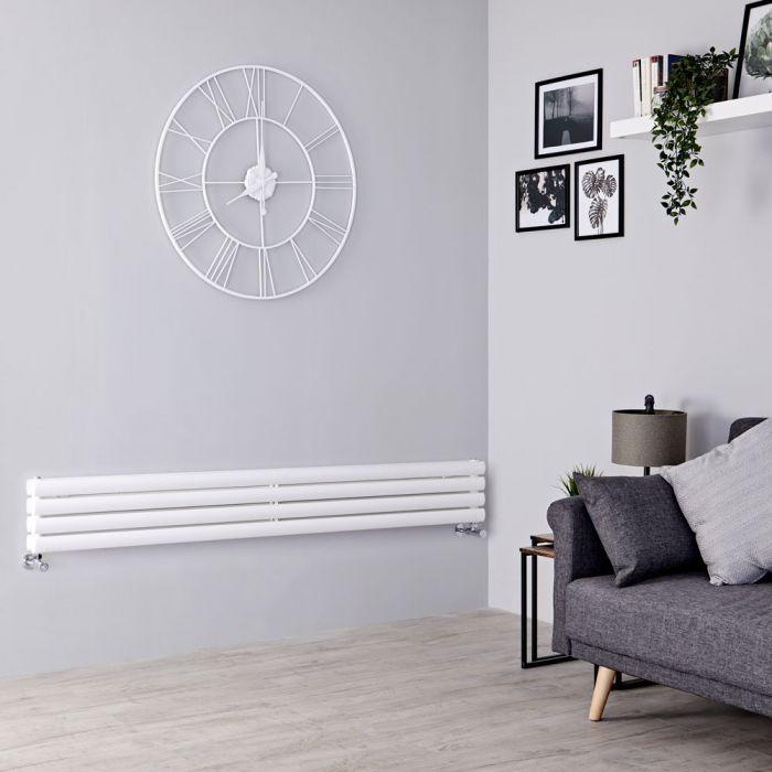 Milano Aruba - White Horizontal Designer Radiator 236mm x 1780mm (Double Panel)