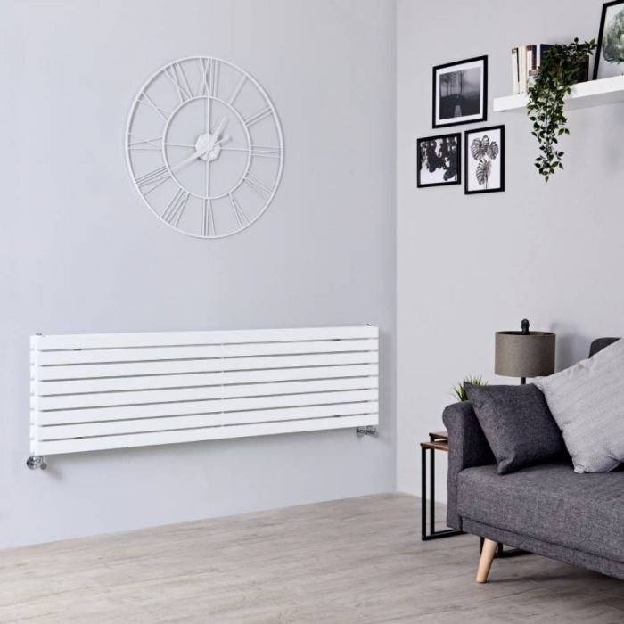 Milano Capri - White Horizontal Flat Panel Double Designer Radiator 472mm x 1780mm