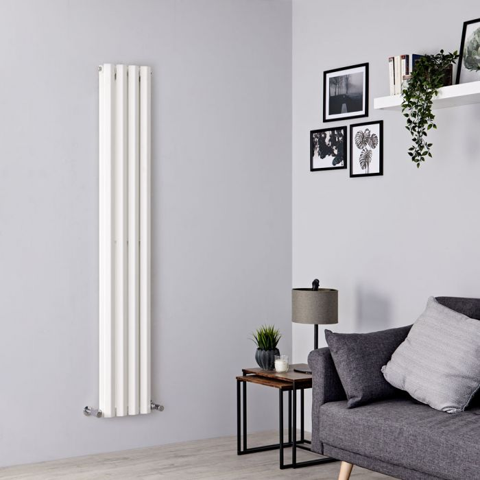 Milano Viti - White Vertical Diamond Double Panel Designer Radiator 1780mm x 280mm