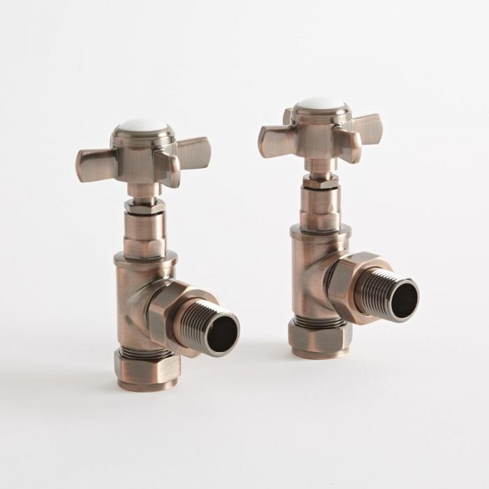 Milano - Traditional Oil Rubbed Bronze Angled Radiator Valves (Pair)