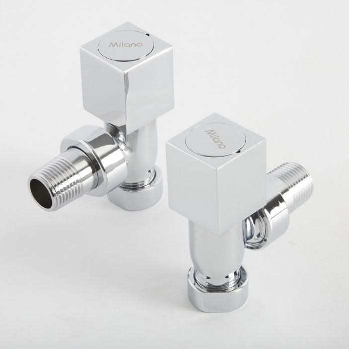Milano - Chrome Square Designer Angled Radiator Valves (Pair)