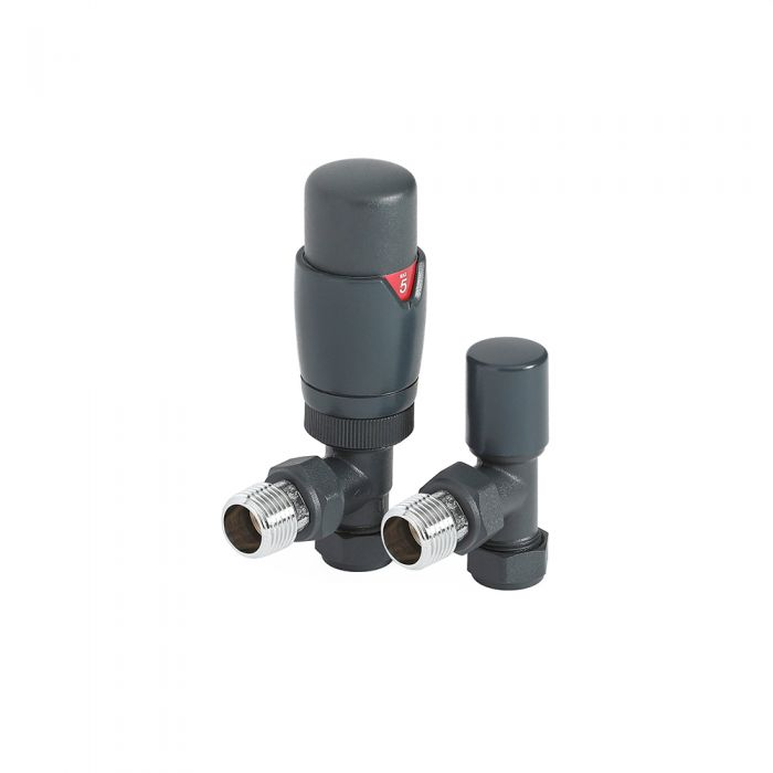 Milano - Modern Anthracite Thermostatic Angled Radiator Valves