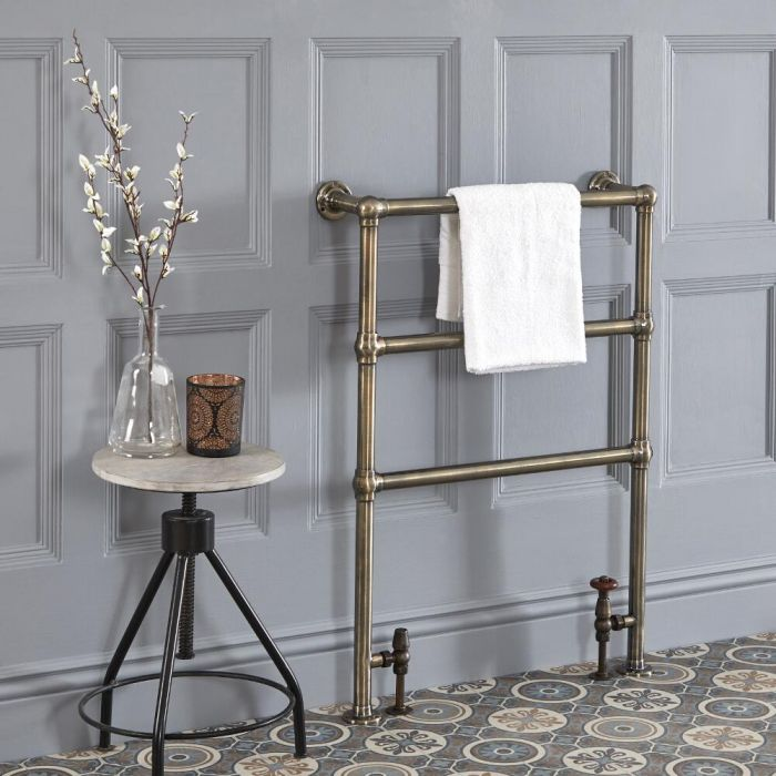 Milano Derwent - Traditional Minimalist Brushed Gold Heated Towel Rail - 966mm x 673mm