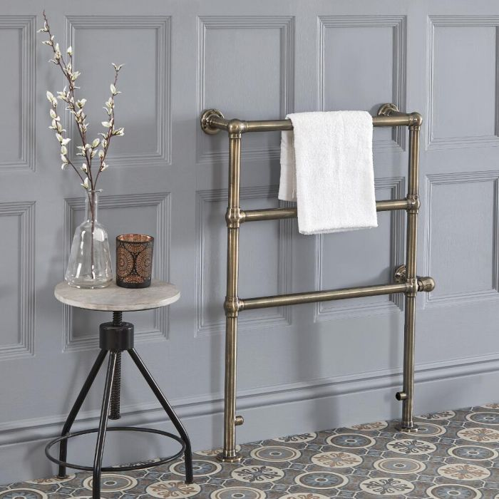 Milano Derwent - Traditional Brushed Gold Electric Heated Towel Rail - 966mm x 673mm