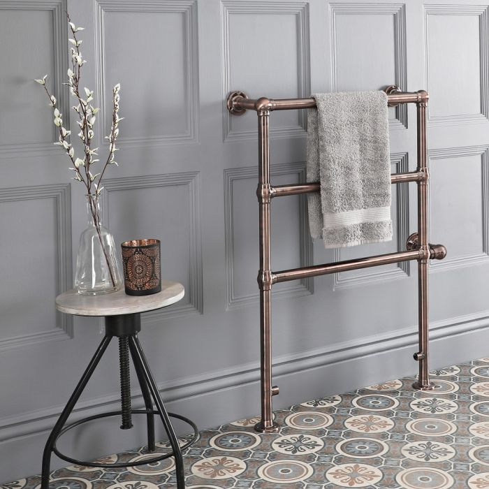 Milano Minimalist Electric Traditional Heated Towel Rail 966mm x 673mm - Oil Rubbed Bronze