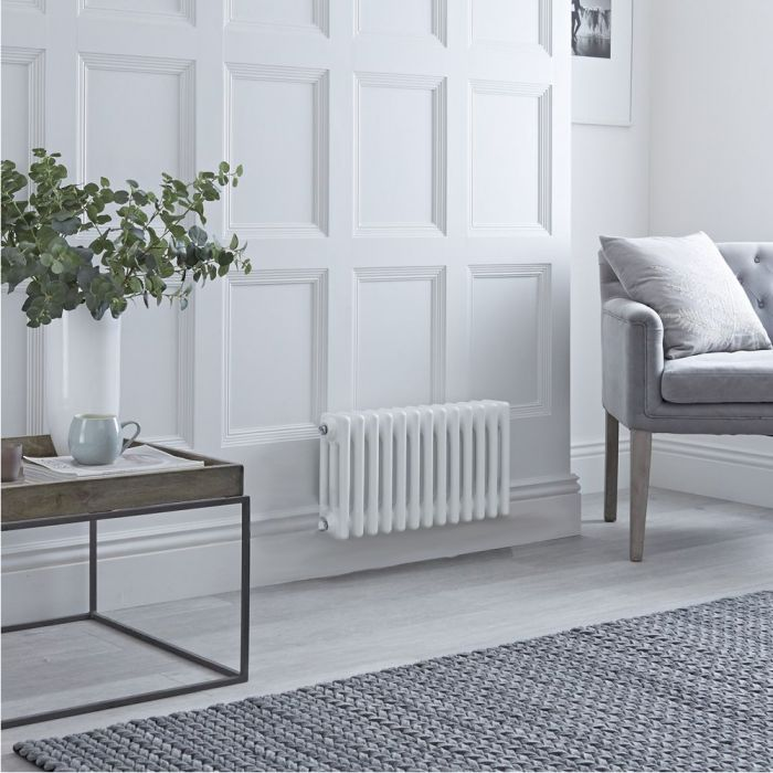Milano Windsor - Traditional White 3 Column Electric Horizontal Radiator 300mm x 605mm - Choice of Wi-Fi Thermostat
