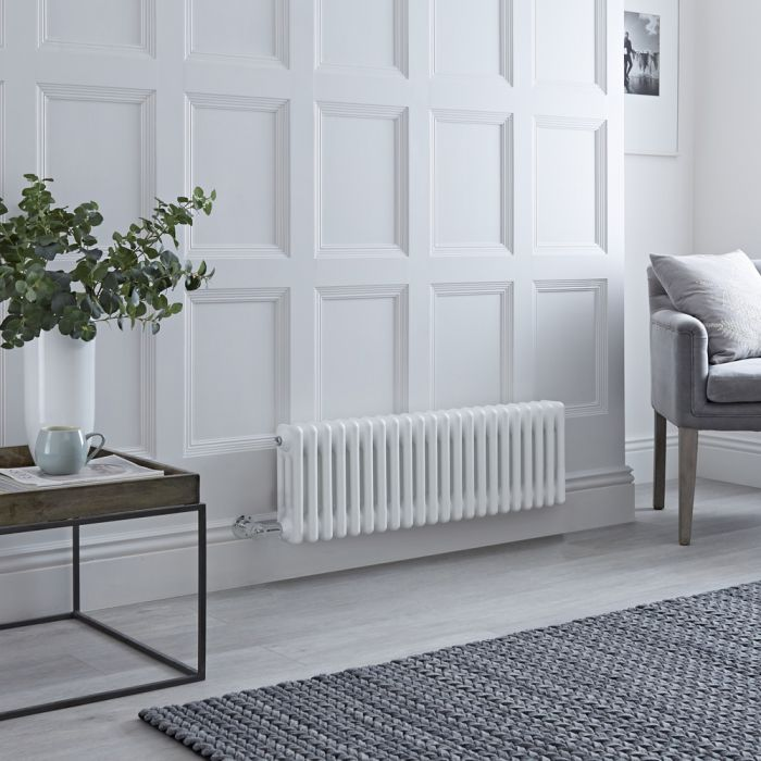 Milano Windsor - Traditional White 3 Column Electric Radiator 300mm x 1010mm (Horizontal) - Choice of Wi-Fi Thermostat