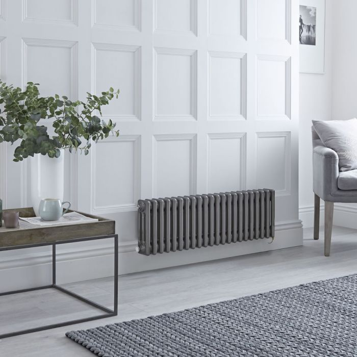 Milano Windsor - Traditional Horizontal 3 Column Electric Radiator - Raw Metal Lacquered - 300mm x 1010mm - Choice of Wi-Fi Thermostat