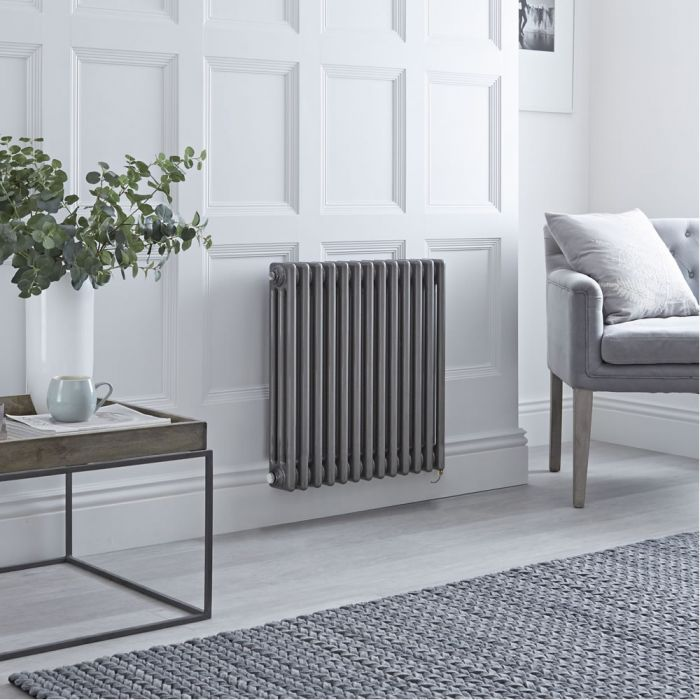 Milano Windsor - Traditional Horizontal 3 Column Electric Radiator - Raw Metal Lacquered 600mm x 605mm - Choice of Wi-Fi Thermostat