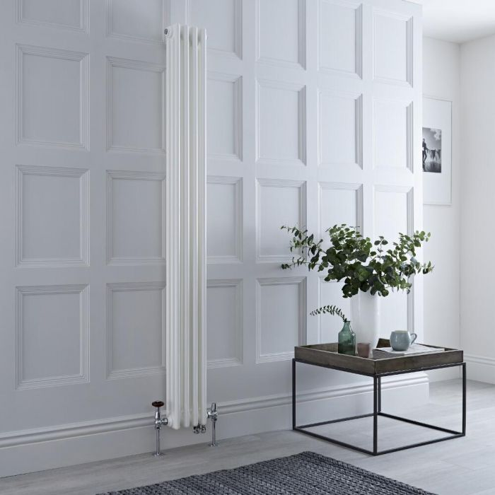 Milano Windsor - White Traditional Vertical Dual Fuel Triple Column Radiator - 1800mm x 200mm - Choice of Valve and Wi-Fi Thermostat