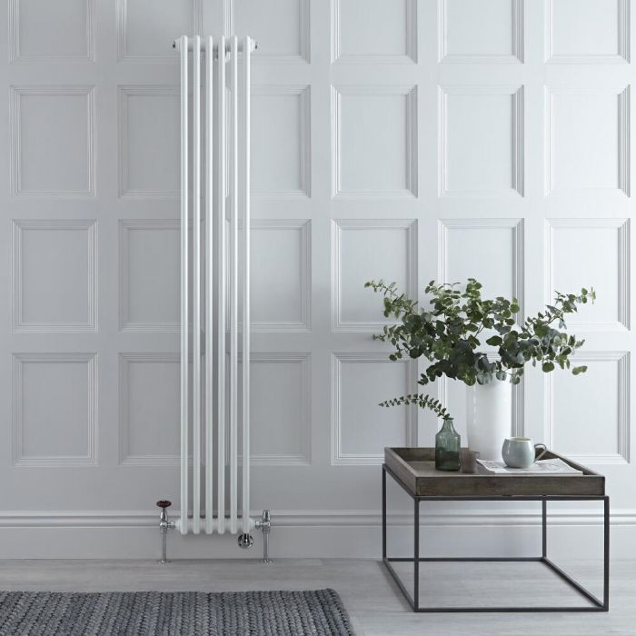 Milano Windsor - White Traditional Vertical Dual Fuel Triple Column Radiator - 1800mm x 290mm - Choice of Valve and Wi-Fi Thermostat