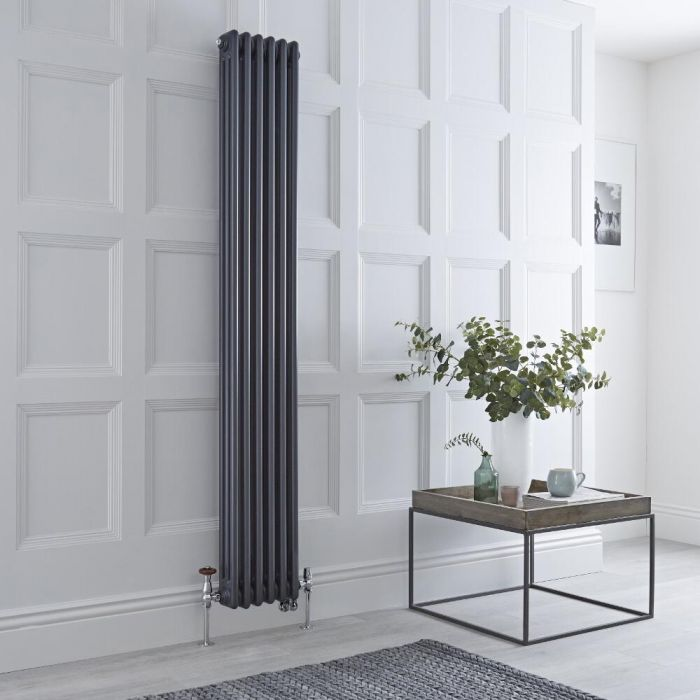 Milano Windsor - Anthracite Traditional Vertical Dual Fuel Triple Column Radiator - 1800mm x 290mm - Choice of Valve and Wi-Fi Thermostat