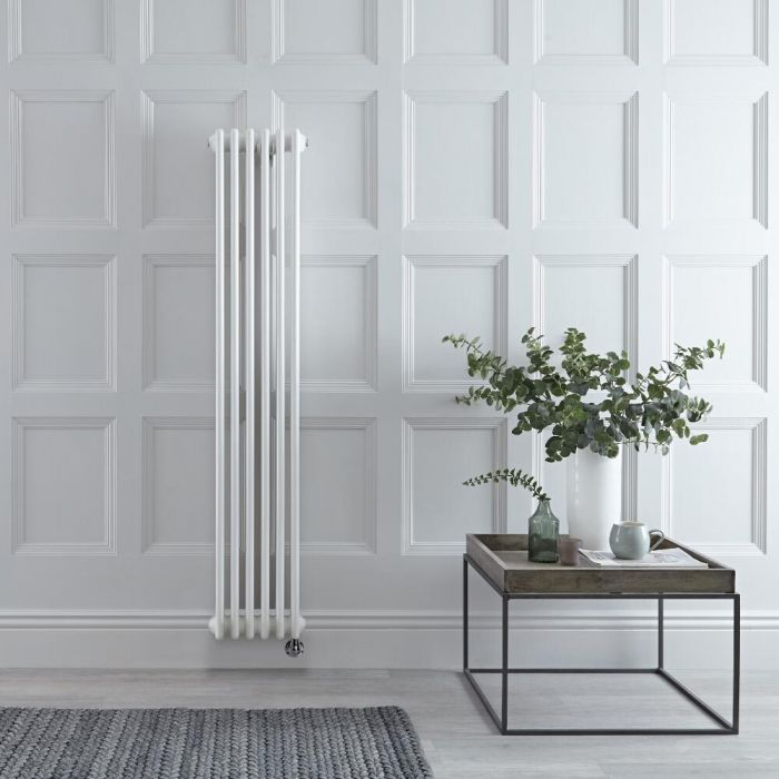 Milano Windsor - White Traditional Vertical Electric Double Column Radiator - 1500mm x 290mm - Choice of Wi-Fi Thermostat