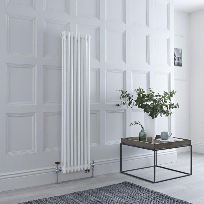 Milano Windsor - White Traditional Vertical Dual Fuel Double Column Radiator - 1500mm x 380mm - Choice of Valve and Wi-Fi Thermostat