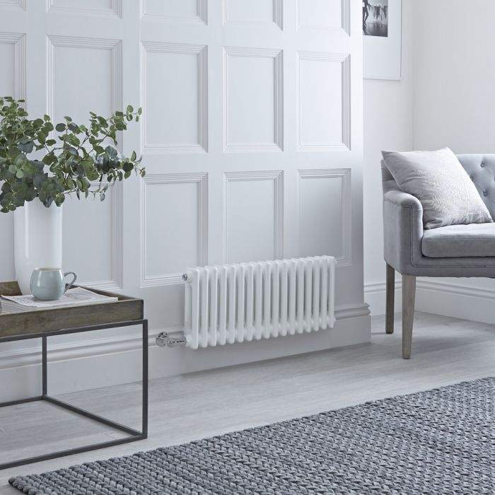 Milano Windsor - Traditional 17 x 2 Column Electric Radiator Cast Iron Style White 300mm x 785mm - Choice of Wi-Fi Thermostat