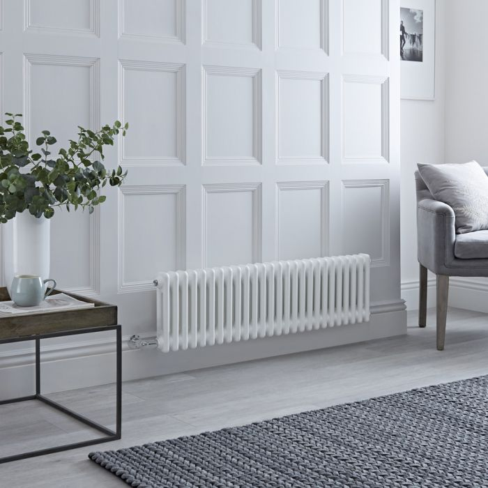 Milano Windsor - Traditional 26 x 2 Column Electric Radiator Cast Iron Style White 300mm x 1190mm - Choice of Wi-Fi Thermostat
