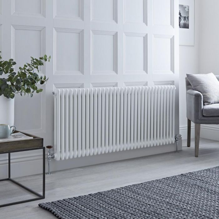 Milano Windsor - Horizontal Double Column White Traditional Cast Iron Style Radiator - 600mm x 1505mm
