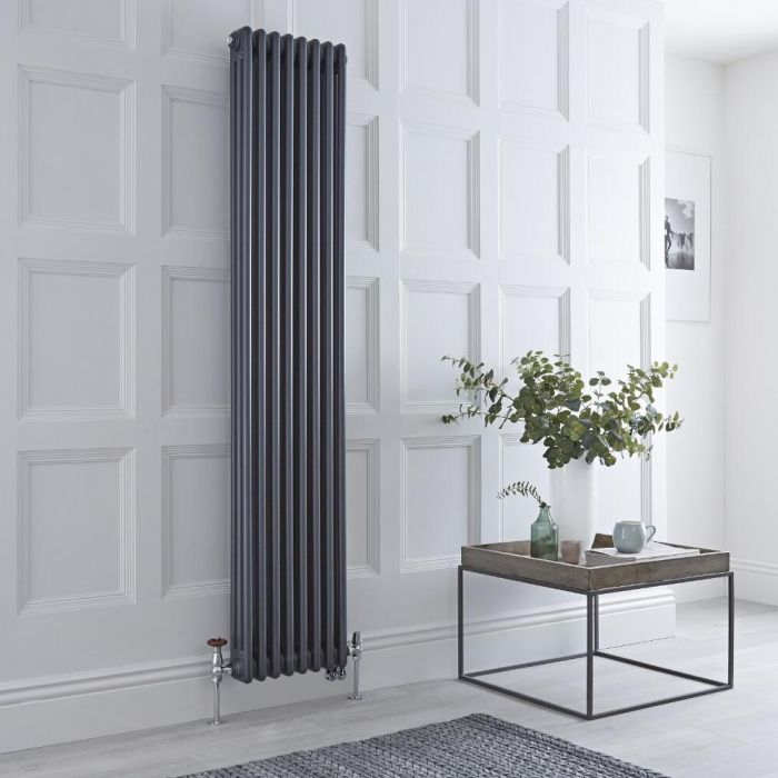 Milano Windsor - Anthracite Traditional Vertical Dual Fuel Triple Column Radiator - 1800mm x 380mm - Choice of Valve and Wi-Fi Thermostat