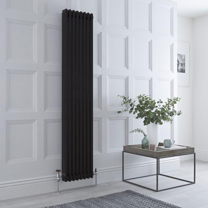 Milano Windsor - Vertical Triple Column Black Traditional Cast Iron Style Radiator - 1800mm x 381mm