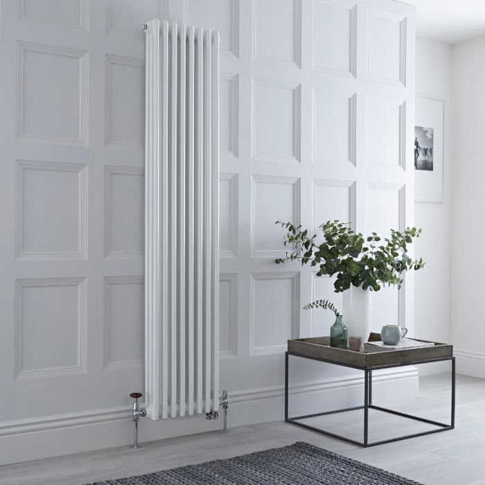 Milano Windsor - White Traditional Vertical Dual Fuel Triple Column Radiator - 1800mm x 380mm - Choice of Valve and Wi-Fi Thermostat