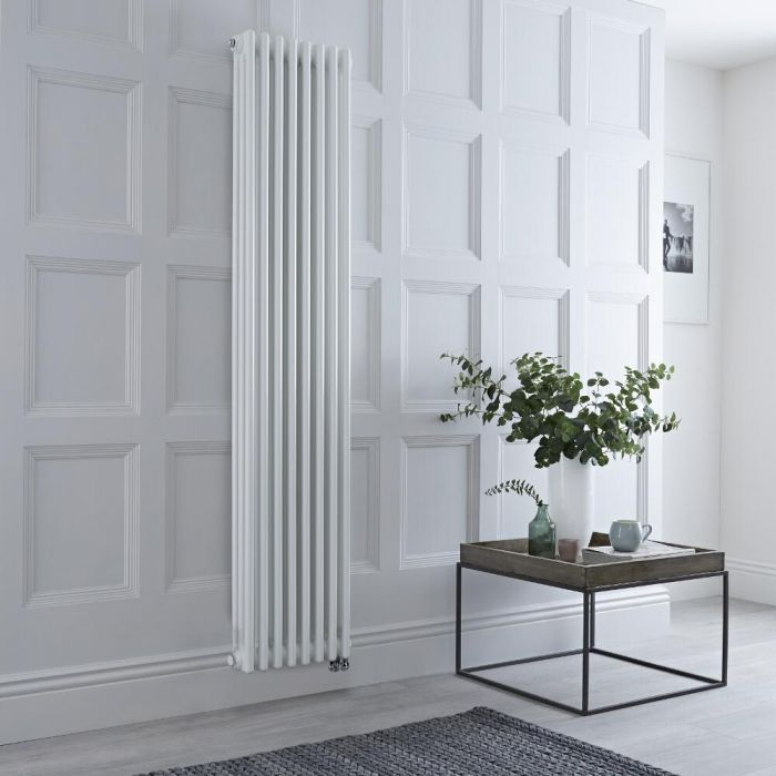 Milano Windsor - White Traditional Vertical Electric Triple Column Radiator - 1800mm x 380mm - Choice of Wi-Fi Thermostat