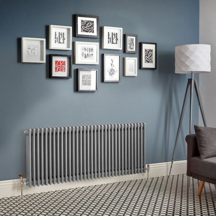 Milano Windsor - Metallic Silver Horizontal Traditional Column Radiator (Triple Column) - Various Sizes