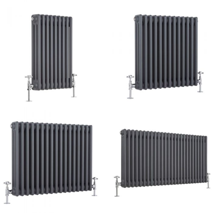 Milano Windsor - Anthracite 600mm Traditional Horizontal Triple Column Radiator - Choice of Size and Feet