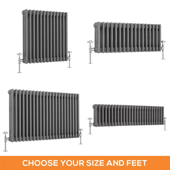 Milano Windsor - Lacquered Raw Metal Traditional Horizontal Triple Column Radiator - Choice of Size and Feet