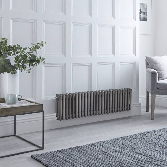 Milano Windsor - Traditional Horizontal 3 Column Electric Radiator - Raw Metal Lacquered - 300mm x 1190mm - Choice of Wi-Fi Thermostat