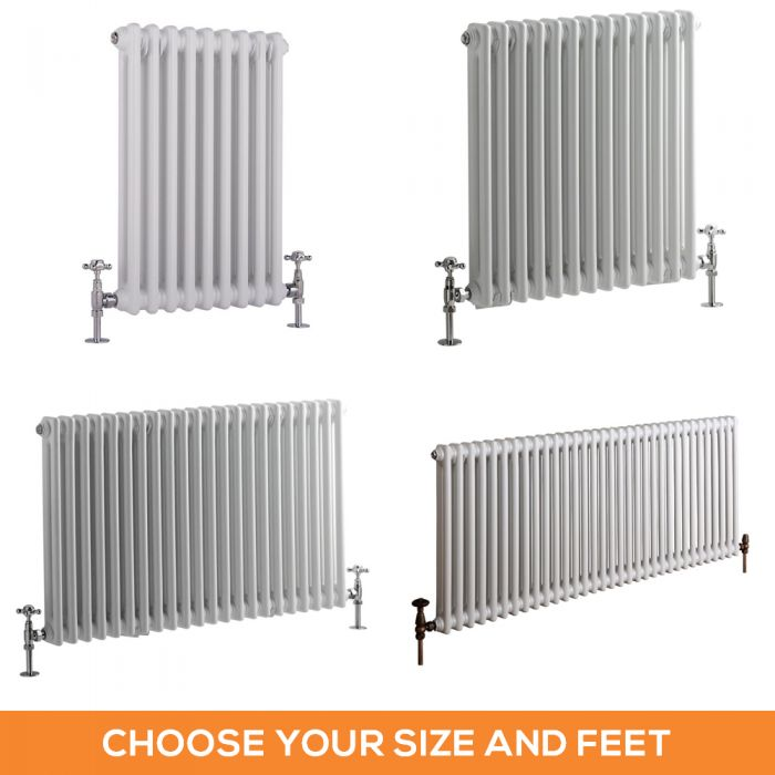 Milano Windsor - White Traditional Horizontal Double Column Radiator - Choice of Size and Feet