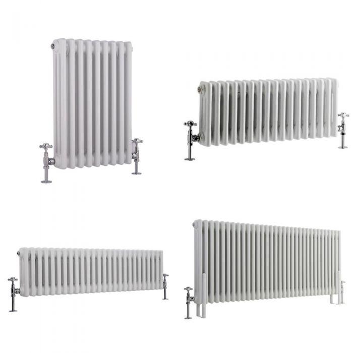 Milano Windsor - White Traditional Horizontal Triple Column Radiator - Choice of Size and Feet