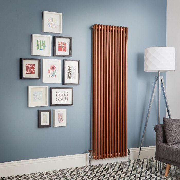 Milano Windsor - Metallic Copper Vertical Traditional Column Radiator (Triple Column) - Various Sizes