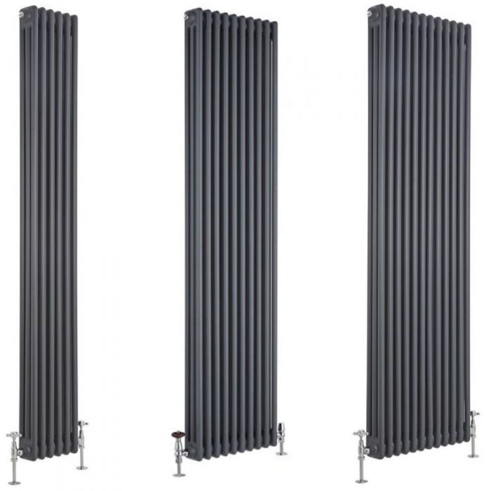 Milano Windsor - Anthracite 1800mm Traditional Vertical Triple Column Radiator - Choice of Size and Feet