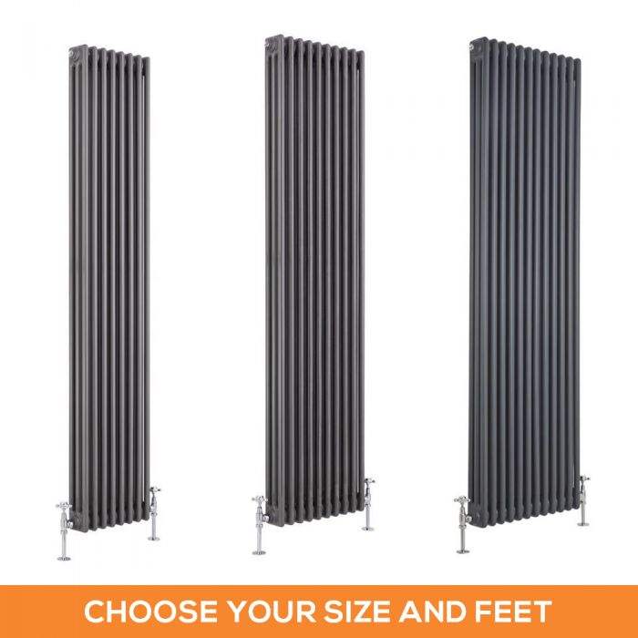 Milano Windsor - Lacquered Raw Metal Traditional 1800mm Vertical Triple Column Radiator - Choice of Size and Feet