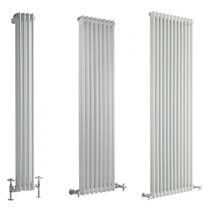 Milano Windsor - White Traditional Vertical Double Column Radiator - Choice of Size and Feet