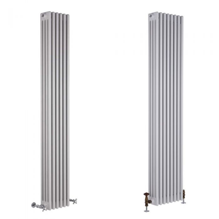 Milano Windsor - White Traditional 1800mm Vertical Four Column Radiator - Choice of Size and Feet