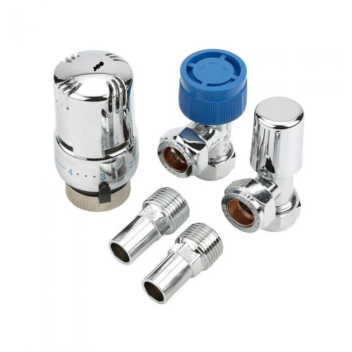 Milano - Chrome Thermostatic Angled Radiator Valves (Pair)
