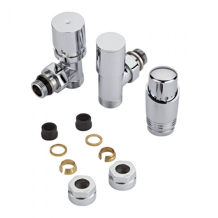 Chrome Radiator Valve with Chrome TRV & 15mm Copper Adapters