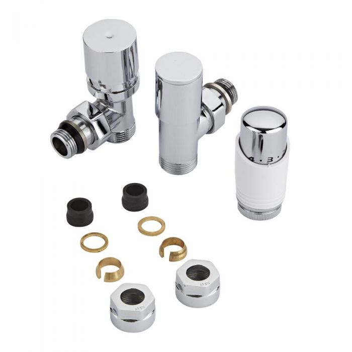 Chrome Radiator Valve with White TRV & 15mm Copper Adapters