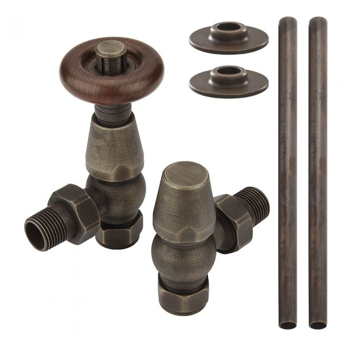 Milano - Bronze Radiator Pipe Connectors (Pair)