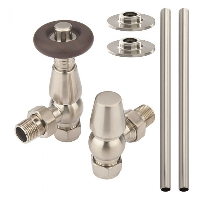 Milano Windsor - Traditional Thermostatic Angled Radiator Valve and Pipe Set Satin