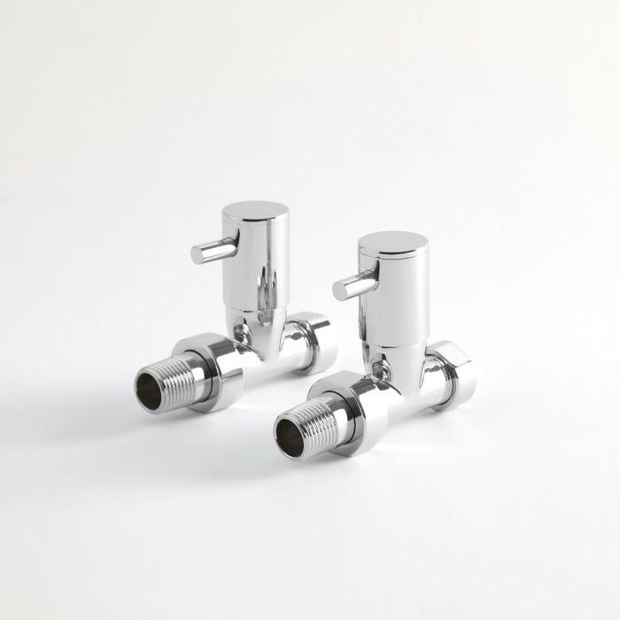Milano - Minimalist Chrome Straight Radiator Valves (Pair)
