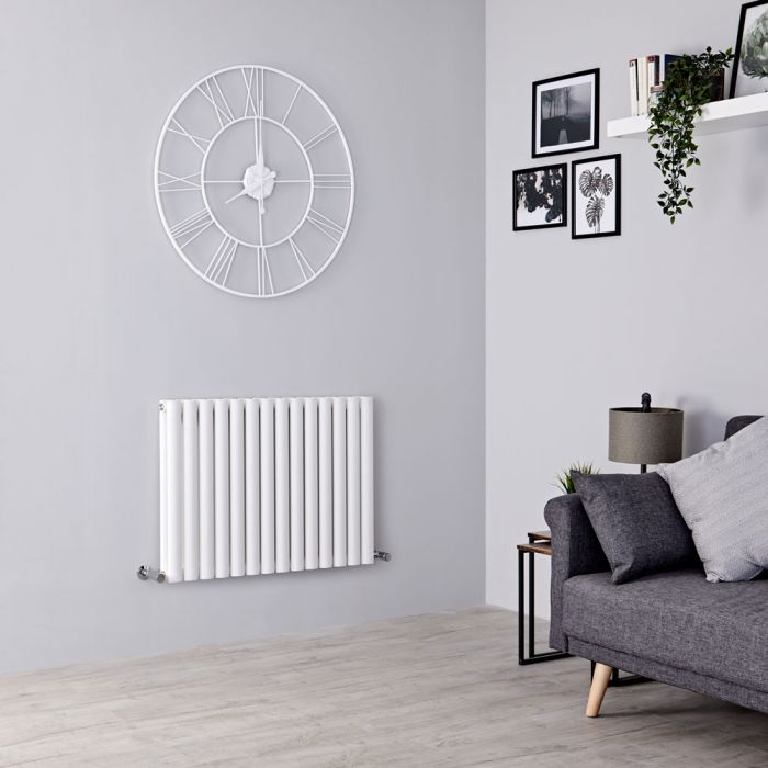Milano Aruba - Modern White Horizontal Designer Radiator 600mm x 834mm (Double Panel)