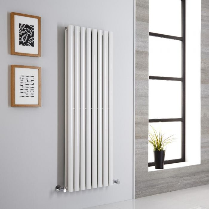 Milano Aruba - Modern White Vertical Designer Radiator 1400mm x 472mm (Double Panel)