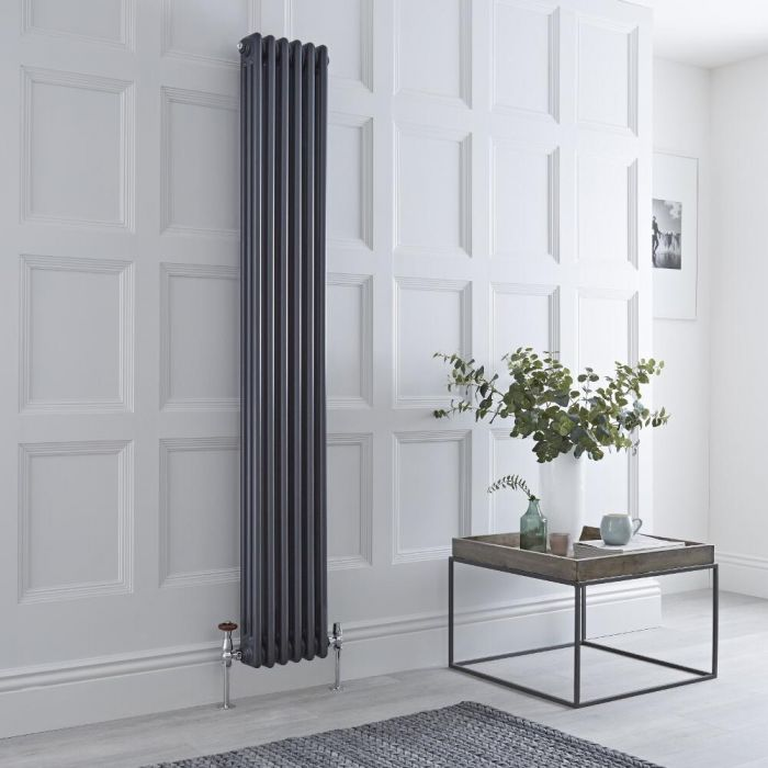 Milano Windsor - Vertical Triple Column Anthracite Traditional Cast Iron Style Radiator - 1800mm x 290mm