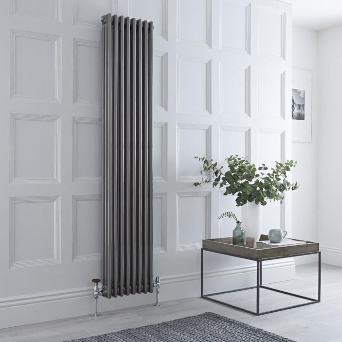 Milano Windsor - Vertical Triple Column Lacquered Raw Metal Traditional Cast Iron Style Radiator - 1800mm x 380mm
