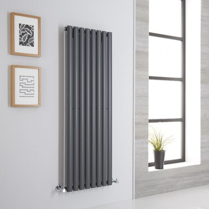 Milano Aruba Aiko - Anthracite Space-Saving Vertical Designer Radiator 1400mm x 472mm (Single Panel)