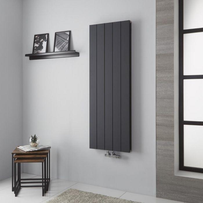Milano Kit - Anthracite Vertical Aluminium Designer Radiator 1400mm x 470mm (Double Panel)